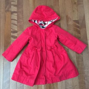 Red Girls Gap Hooded Coat with Double Bows - 3T